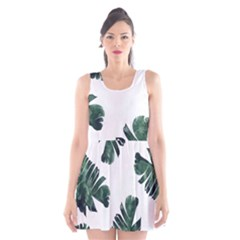Green Banana Leaves Scoop Neck Skater Dress by goljakoff