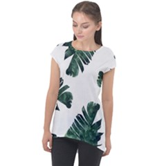 Green Banana Leaves Cap Sleeve High Low Top by goljakoff