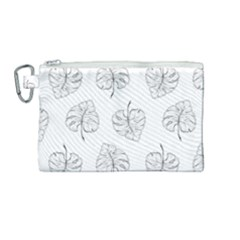 Doodle Leaves Canvas Cosmetic Bag (medium) by goljakoff