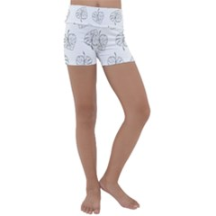Doodle Leaves Kids  Lightweight Velour Yoga Shorts by goljakoff