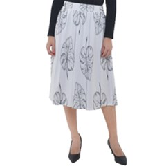Doodle Leaves Classic Velour Midi Skirt  by goljakoff