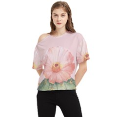 Rose Cactus One Shoulder Cut Out Tee by goljakoff