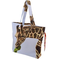 Giraffe Drawstring Tote Bag by ArtByThree