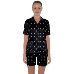 Black And White Tennis Motif Print Pattern Satin Short Sleeve Pyjamas Set by dflcprintsclothing