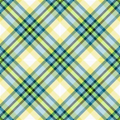 Tartan, Yellow And Blue Plaid, Decorative Diagonal Pattern by FloraaplusDesign
