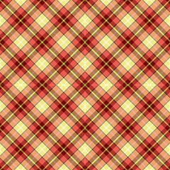 Tartan, Yellow Coral Plaid, Ornamental Diagonal Pattern by FloraaplusDesign