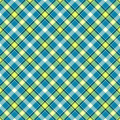 Tartan, Green And Blue Plaid, Decorative Diagonal Pattern by FloraaplusDesign