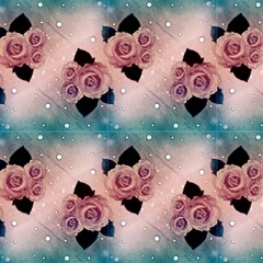 Pink Blue Vintage Roses And Polka Dot by FloraaplusDesign