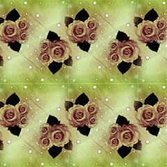 Beige Green Vintage Roses And Polka Dot by FloraaplusDesign
