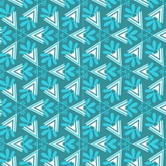 Aqua Blue Abstract Decorative Pattern  by FloraaplusDesign