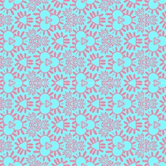 Pink And Aqua Blue Decorative Pattern  by FloraaplusDesign