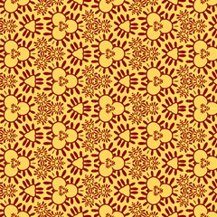 Yellow Red Decorative Pattern by FloraaplusDesign