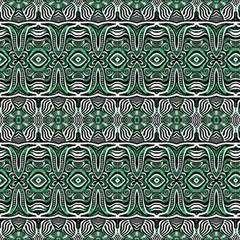 Black White And Green Ethnic Ornament by FloraaplusDesign