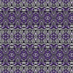 Black White And Purple Ethnic Ornament by FloraaplusDesign