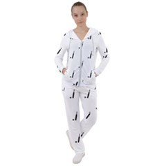 Black And White Cricket Sport Motif Print Pattern Women s Tracksuit