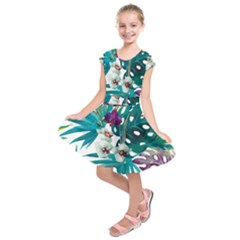 Tropical Flowers Kids  Short Sleeve Dress by goljakoff