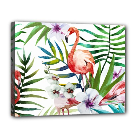 Tropical Flamingo Canvas 14  X 11  (stretched) by goljakoff