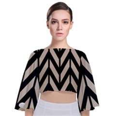 Chevrons Beige/noir Tie Back Butterfly Sleeve Chiffon Top