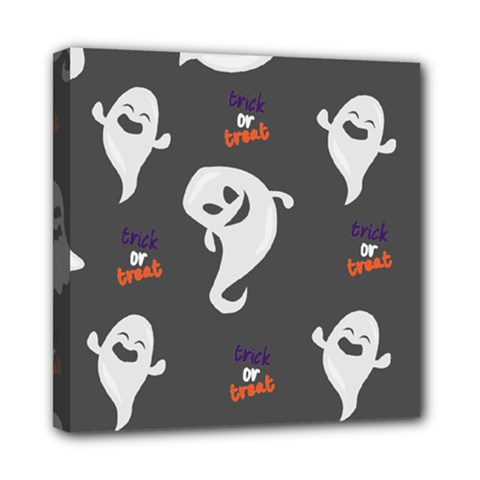 Halloween Ghost Trick Or Treat Seamless Repeat Pattern Mini Canvas 8  X 8  (stretched) by KentuckyClothing