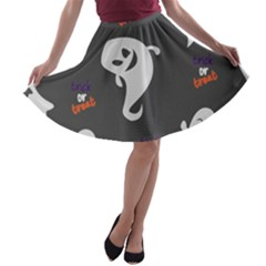 Halloween Ghost Trick Or Treat Seamless Repeat Pattern A-line Skater Skirt by KentuckyClothing