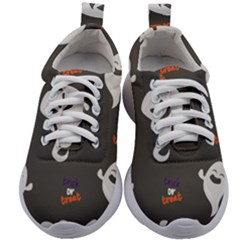 Halloween Ghost Trick Or Treat Seamless Repeat Pattern Kids Athletic Shoes by KentuckyClothing