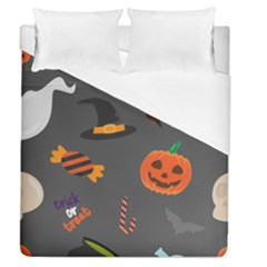 Halloween Themed Seamless Repeat Pattern Duvet Cover (queen Size) by KentuckyClothing