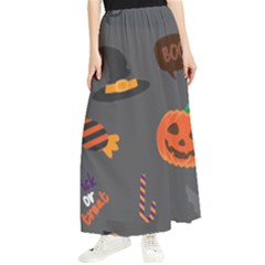Halloween Themed Seamless Repeat Pattern Maxi Chiffon Skirt by KentuckyClothing