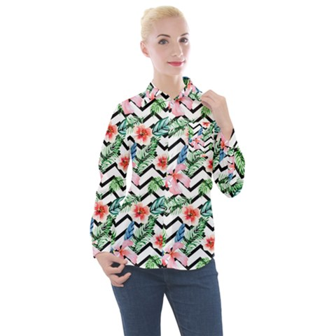 Zigzag Flowers Pattern Women s Long Sleeve Pocket Shirt by goljakoff