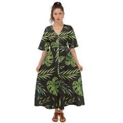 Green Leaves Kimono Sleeve Boho Dress