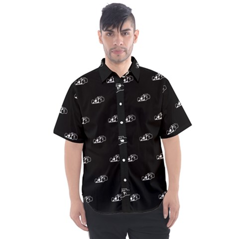 Formula One Black And White Graphic Pattern Men s Short Sleeve Shirt by dflcprintsclothing