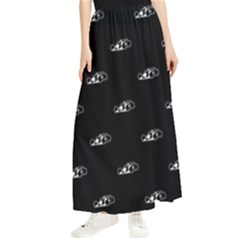 Formula One Black And White Graphic Pattern Maxi Chiffon Skirt by dflcprintsclothing