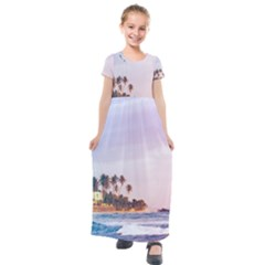 Seascape Kids  Short Sleeve Maxi Dress by goljakoff