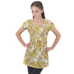 Golden Leaves Puff Sleeve Tunic Top by goljakoff