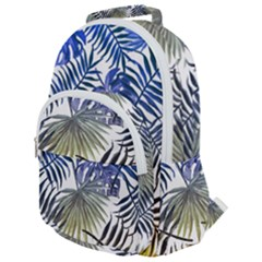 Blue And Yellow Tropical Leaves Rounded Multi Pocket Backpack by goljakoff