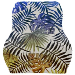 Blue And Yellow Tropical Leaves Car Seat Velour Cushion  by goljakoff