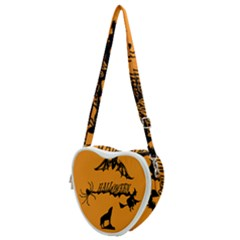 Happy Halloween Scary Funny Spooky Logo Witch On Broom Broomstick Spider Wolf Bat Black 8888 Black A Heart Shoulder Bag