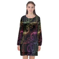 Patina Swirl Long Sleeve Chiffon Shift Dress