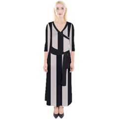 Abalone Grey & Black Quarter Sleeve Wrap Maxi Dress