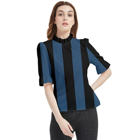 Aegean Blue & Black Frill Neck Blouse by FEMCreations