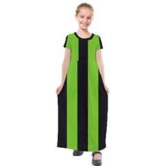 Alien Green & Black Kids  Short Sleeve Maxi Dress by FEMCreations