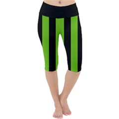 Alien Green & Black Lightweight Velour Cropped Yoga Leggings by FEMCreations
