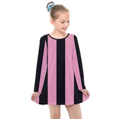 Amaranth Pink & Black Kids  Long Sleeve Dress by FEMCreations