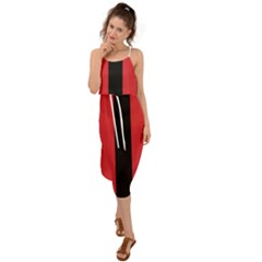 Amaranth Red & Black Waist Tie Cover Up Chiffon Dress