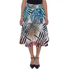 Blue Tropical Leaves Perfect Length Midi Skirt by goljakoff