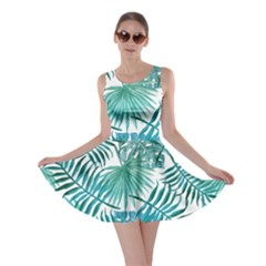 Blue Tropical Leaves Skater Dress by goljakoff