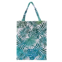 Blue Tropical Leaves Classic Tote Bag