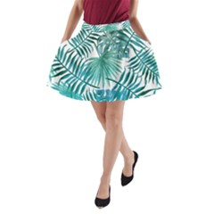 Blue Tropical Leaves A-line Pocket Skirt