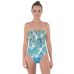 Blue Tropical Leaves Tie Back One Piece Swimsuit