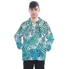 Blue Tropical Leaves Men s Half Zip Pullover by goljakoff