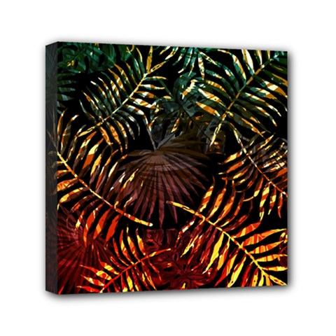 Tropical Leaves Mini Canvas 6  X 6  (stretched) by goljakoff
